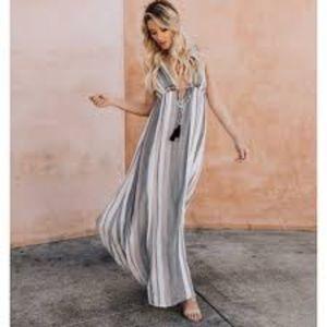 Saachi striped maxi dress